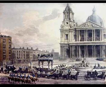 The Funeral Procession of Admiral Lord Nelson arranged by the Worshipful Company of Upholders.